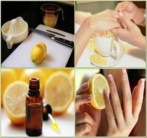 french manicure at home short nails- lemon-for-nail-whitening