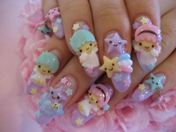 Sweet-Heaven-3D-Nail-Art with cartoons