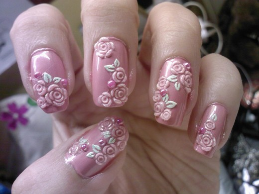 Tea-Pink-3d-Nail-Art-Idea-520x390