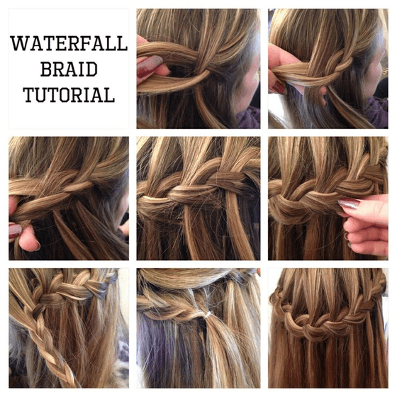 The-Waterfall-Braid for long hair