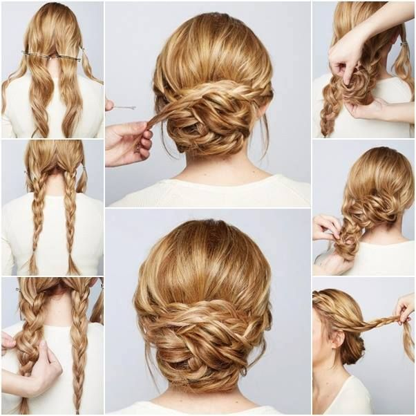 braided bun for long hair
