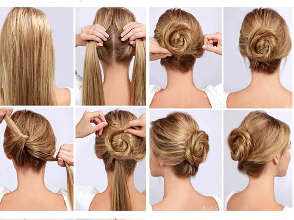 easy bun hairstyle for long hair