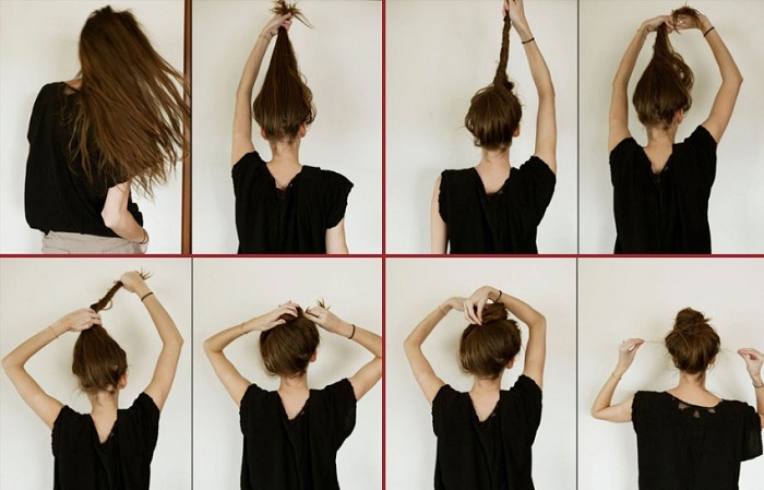 messy-bun-tutorial for long hair