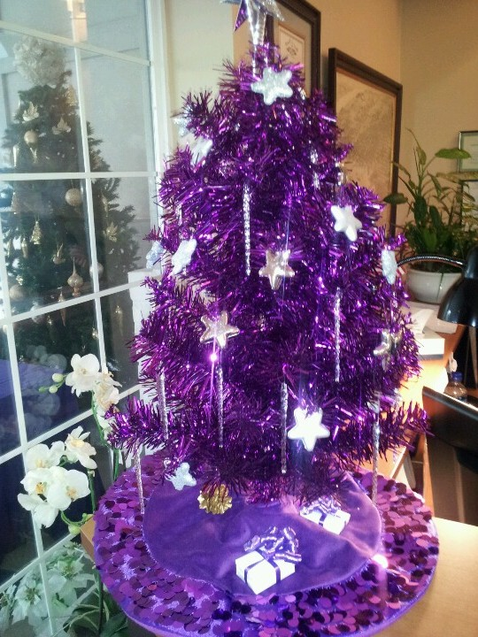 christmas-trees-decorated-in-purple