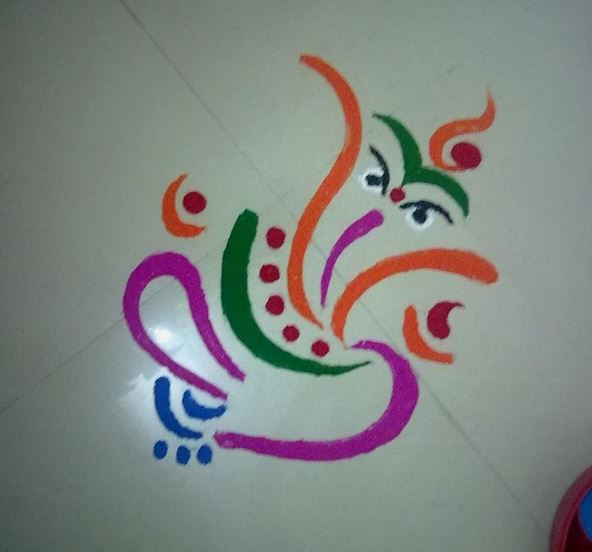 simple ganesha rangoli designs