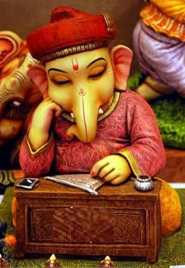 Lord Ganesha studying
