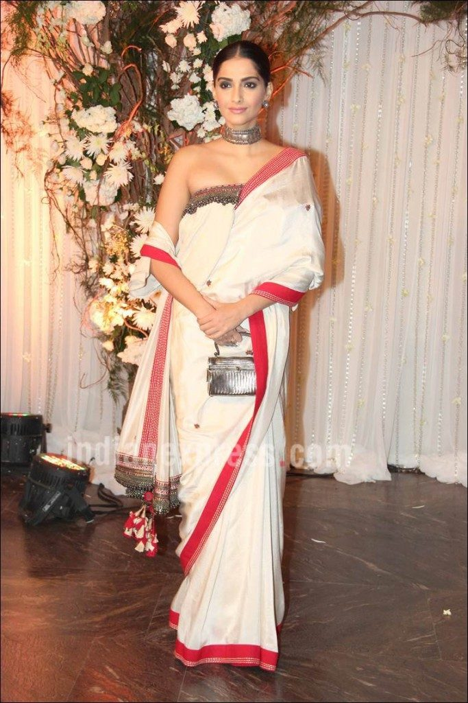 Sonam-Kapoor-in-Off-Shoulder-Blouse-and-Saree-at-Bipashas-reception-683x1024