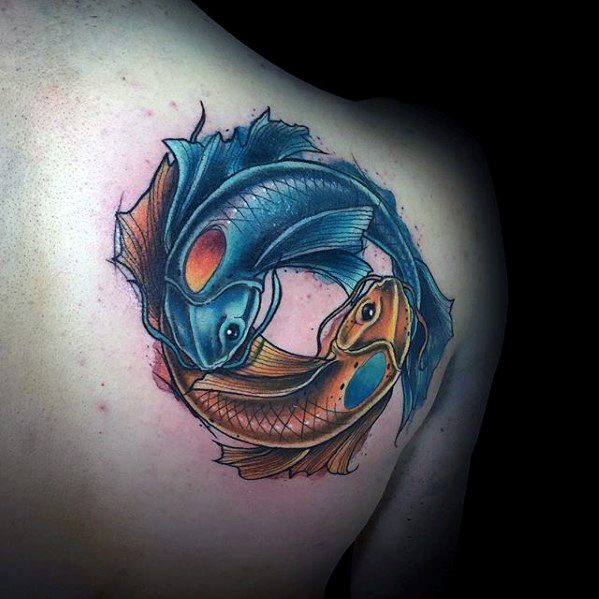 yin-yang-koi-fish-tattoo-design-on-shoulder-of-back