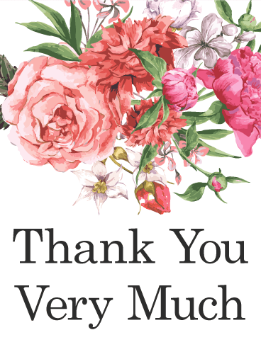 Thank you images with painted flowers